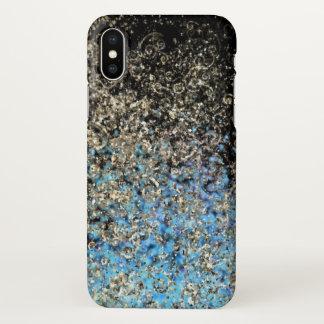 iphone x case gold swirl blue glitter sky stars