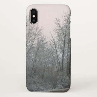 iphone x  christmas winter snow wood case