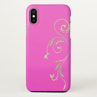 iphone x embellished gold pink case