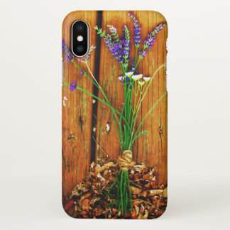 iphone x  flower floral design wood case