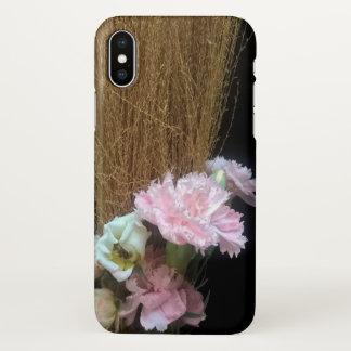 iphone x flowers carnations pink broom hay case