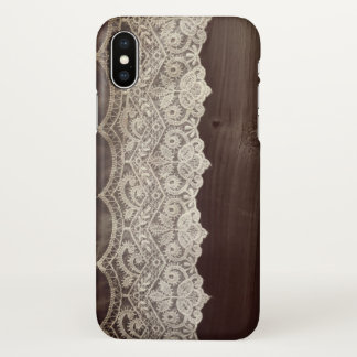 iphone x  realistic  white lace brown wood case