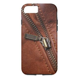 iPhone: Zipper of Brown Leather Biker Jacket iPhone 7 Case