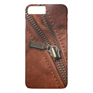 iPhone: Zipper of Brown Leather Biker Jacket iPhone 8 Plus/7 Plus Case