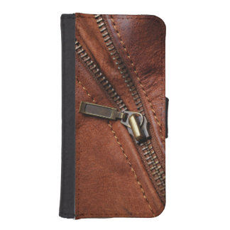 iPhone: Zipper of Brown Leather Biker Jacket iPhone SE/5/5s Wallet Case