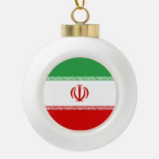 Iran Flag Ceramic Ball Christmas Ornament