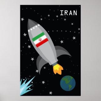 Iran Flag Rocket Ship Poster