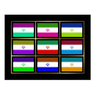Iran Multihue Flags Postcard
