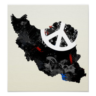 Iran Trendy Peace Sign with Irani map Poster