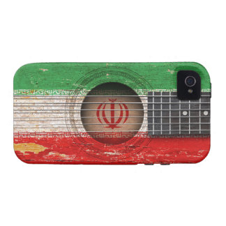 Iranian Flag on Old Acoustic Guitar iPhone 4/4S Cases