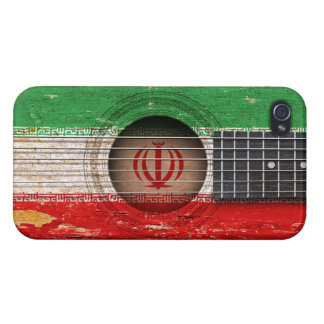 Iranian Flag on Old Acoustic Guitar Case For iPhone 4