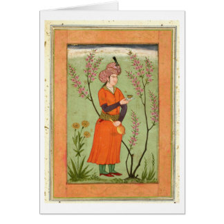 Iranian princely figure holding a cup and flask, c card