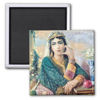 Iranian Woman Folk painting in detail Square Magnet