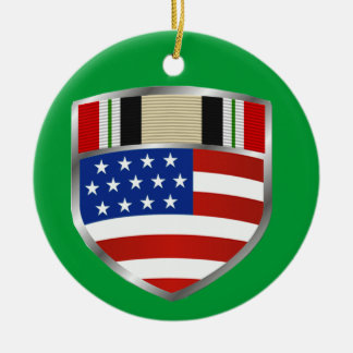 Iraq Campaign Ribbon Round Ceramic Ornament