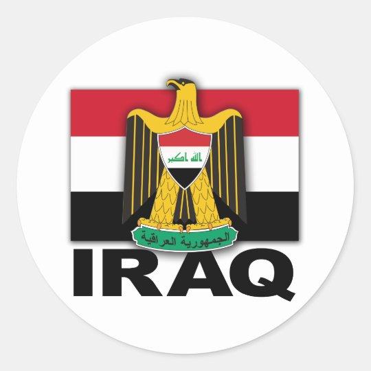 Iraq Coat of Arms Flag Classic Round Sticker