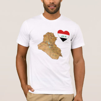 Iraq Flag Heart and Map T-Shirt