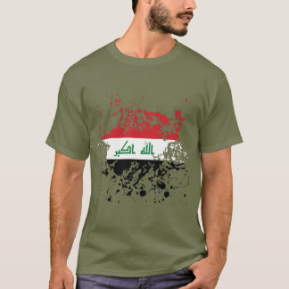 Iraq Flag Ink Splatter T-Shirt