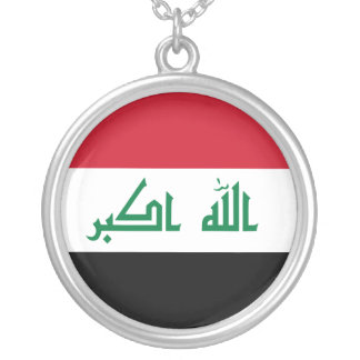 Iraq Flag Silver Plated Necklace