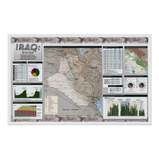 Iraq Oil Facts Map - 2002 Poster