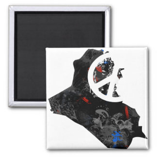 Iraq Trendy Peace Sign with Iraqi map Magnet