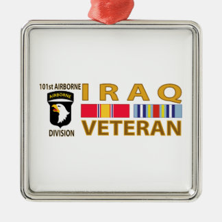 Iraq Veteran Silver-Colored Square Ornament