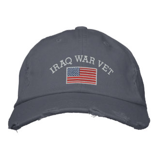 Iraq War Vet with American Flag Embroidered Hat