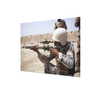 Iraqi Army Sergeant sights in down range 2 Canvas Print