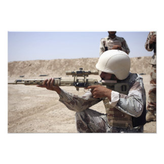 Iraqi Army Sergeant sights in down range Photograph