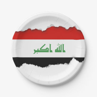 Iraqi Flag 7 Inch Paper Plate