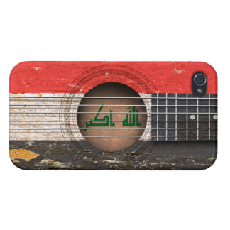 Iraqi Flag on Old Acoustic Guitar iPhone 4/4S Cases