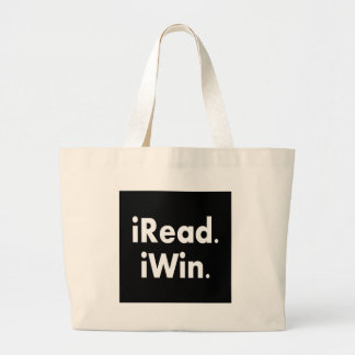 iRead. iWin.  School incentive Large Tote Bag