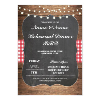 IRehearsal Dinner BBQ Red Check Chalk Invitation