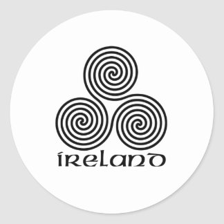 Ireland and the Triple Spiral Classic Round Sticker