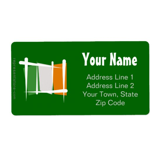 Ireland Brush Flag Shipping Label