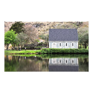Ireland, Church, Stone Wall, Lake, Photography Photo Print