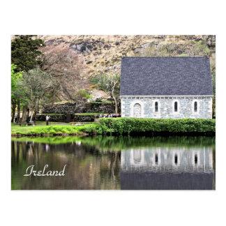 Ireland, Church, Stone Wall, Lake, Photography Postcard