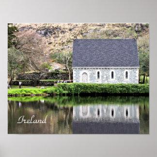 Ireland, Church, Stone Wall, Lake, Photography Poster