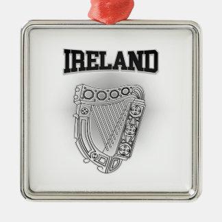 Ireland Coat of Arms Silver-Colored Square Ornament