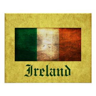 Ireland Distressed Flag Poster