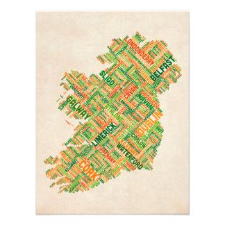Ireland Eire City Text map Photo Print