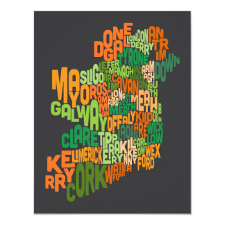 Ireland Eire County Text Map Card