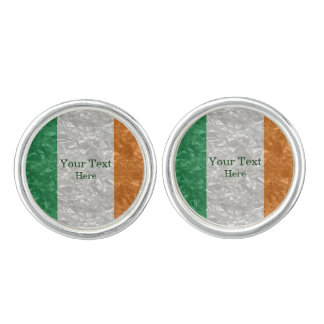 Ireland Flag - Crinkled Cuff Links