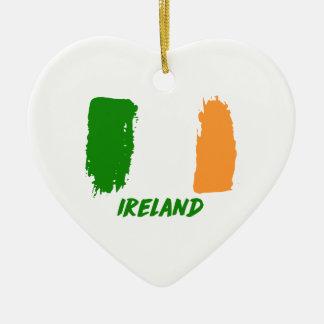 Ireland flag design ceramic heart ornament