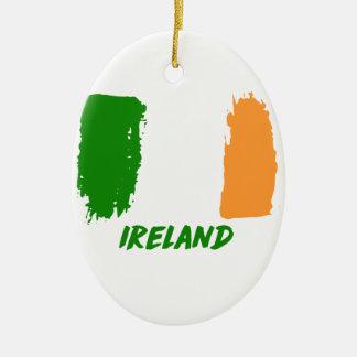 Ireland flag design ceramic oval ornament