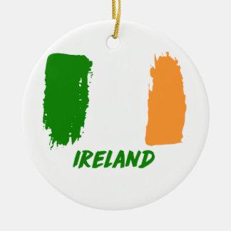 Ireland flag design round ceramic ornament