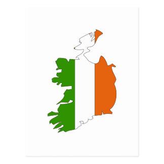 Ireland flag map postcard