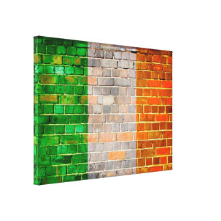 Ireland flag on a brick wall canvas print