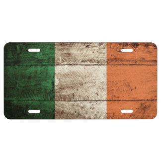 Ireland Flag on Old Wood Grain 1 License Plate