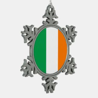 Ireland Flag Pewter Snowflake Ornament