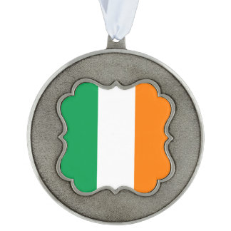 Ireland Flag Scalloped Pewter Ornament